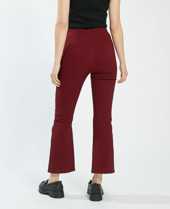 Pantalon flare crop à carreaux rouge - Pimkie