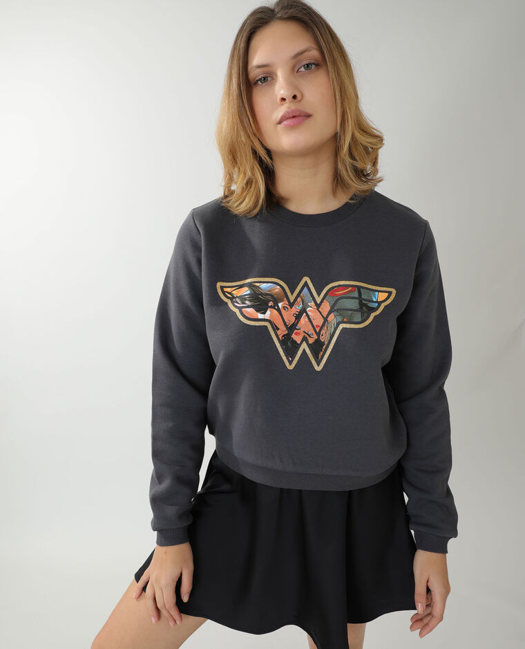 Sweat molleton Wonder Woman noir - Pimkie