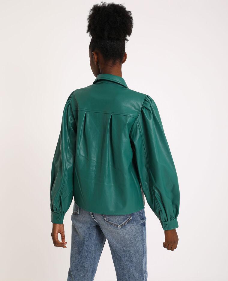 Chemise en simili cuir vert