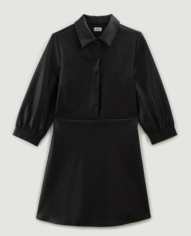 Robe courte en simili cuir noir - Pimkie