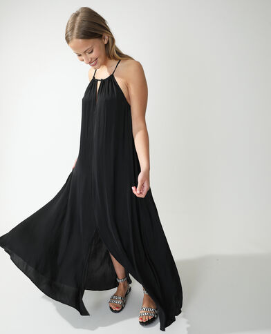 Robe longue satinée noir - Pimkie