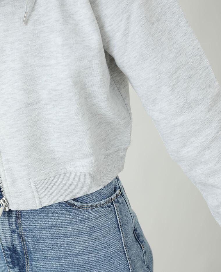Sweat court à capuche molletonné gris chiné - Pimkie