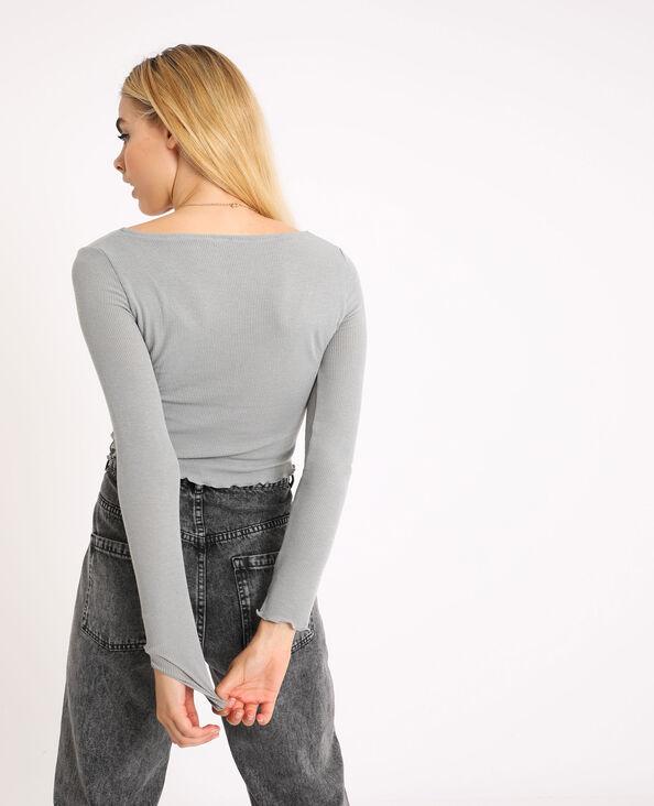 Top court à manches longues gris chiné - Pimkie