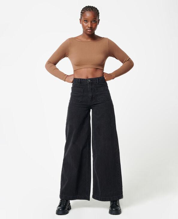 Jean wide taille haute noir - Pimkie