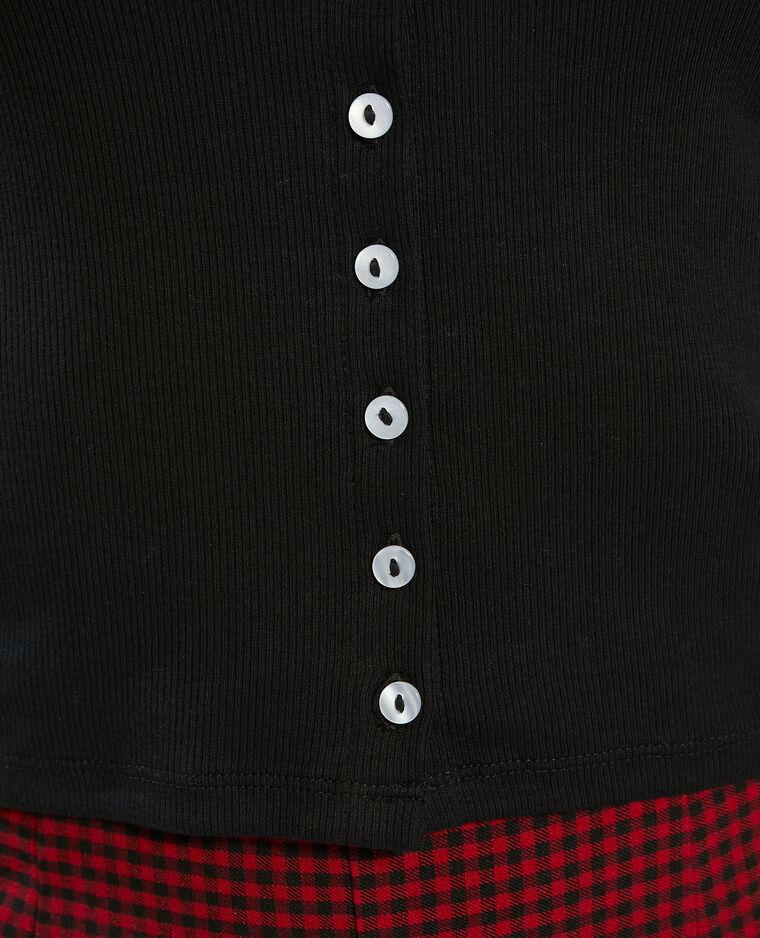 T-shirt basique boutonné noir - Pimkie