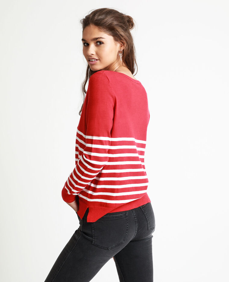 Pull rayé rouge