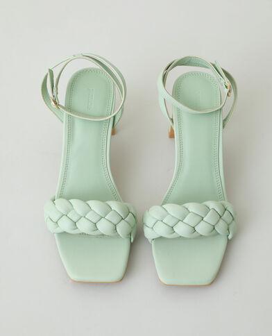 Sandales tressées à talons vert