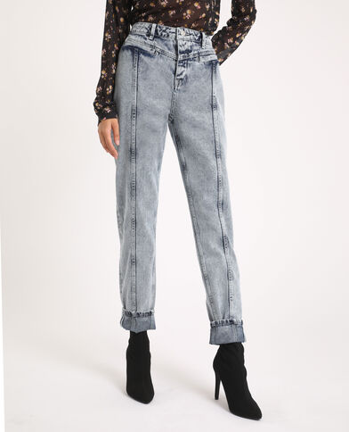 Jean mom acid wash bleu délavé