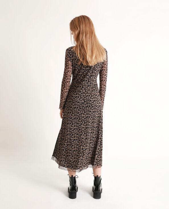 Robe longue léopard marron