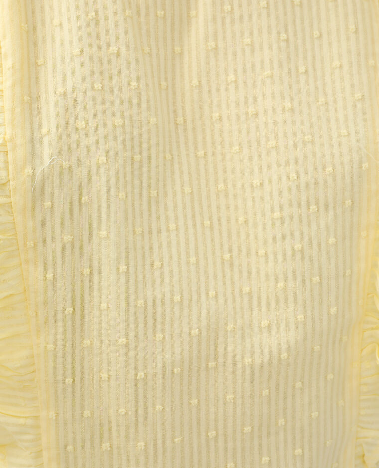 Blouse plumetis à volants jaune pâle