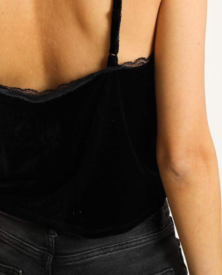 Bralette perles et dentelle noir
