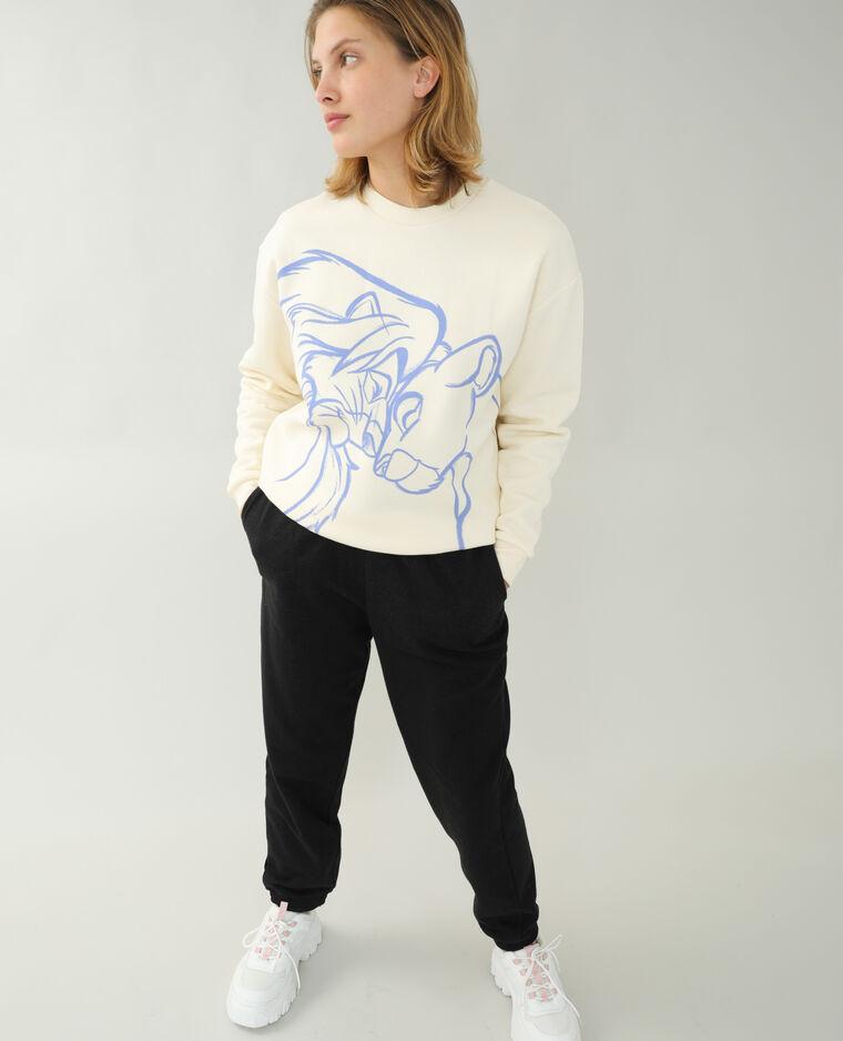 Sweat molleton Le Roi Lion blanc cassé - Pimkie