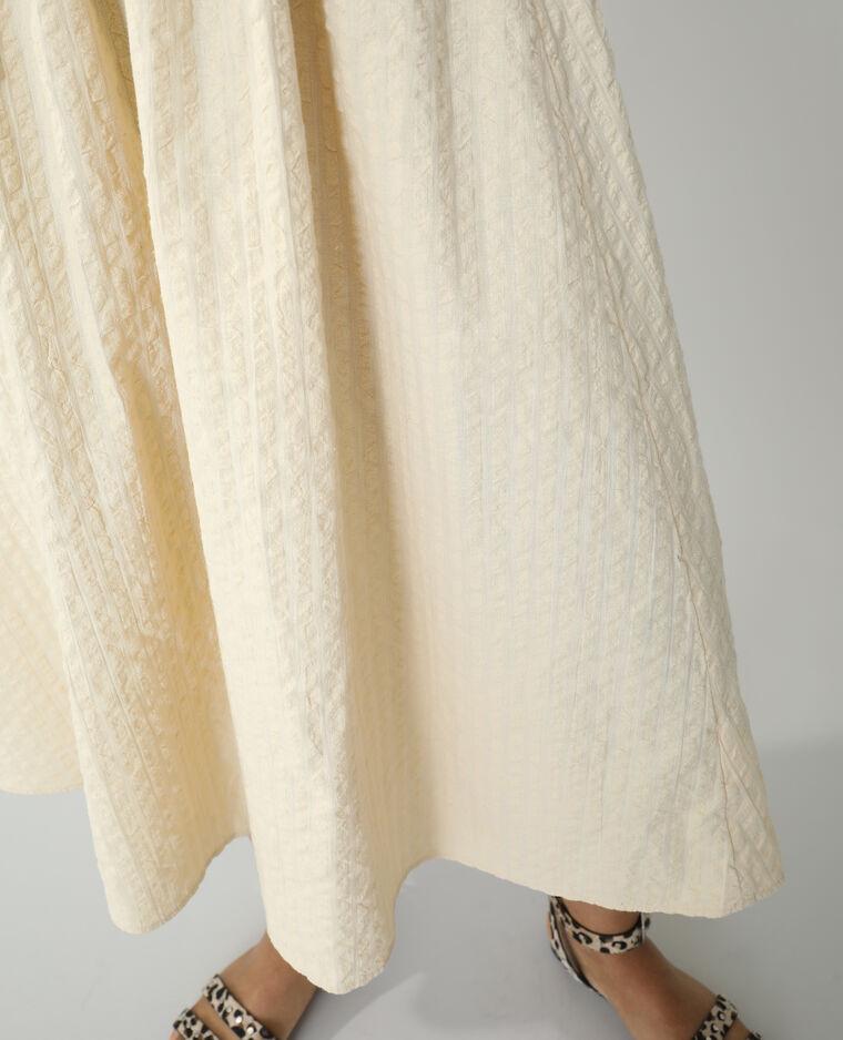 Robe longue gaufrée beige - Pimkie