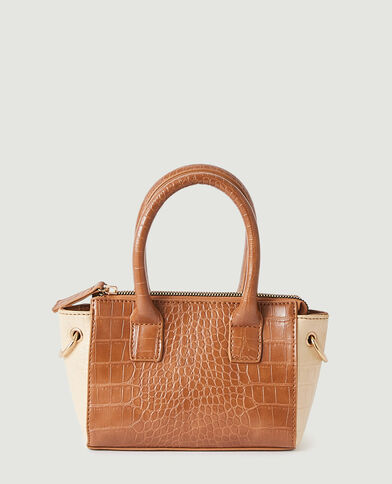 Mini sac à main croco marron - Pimkie