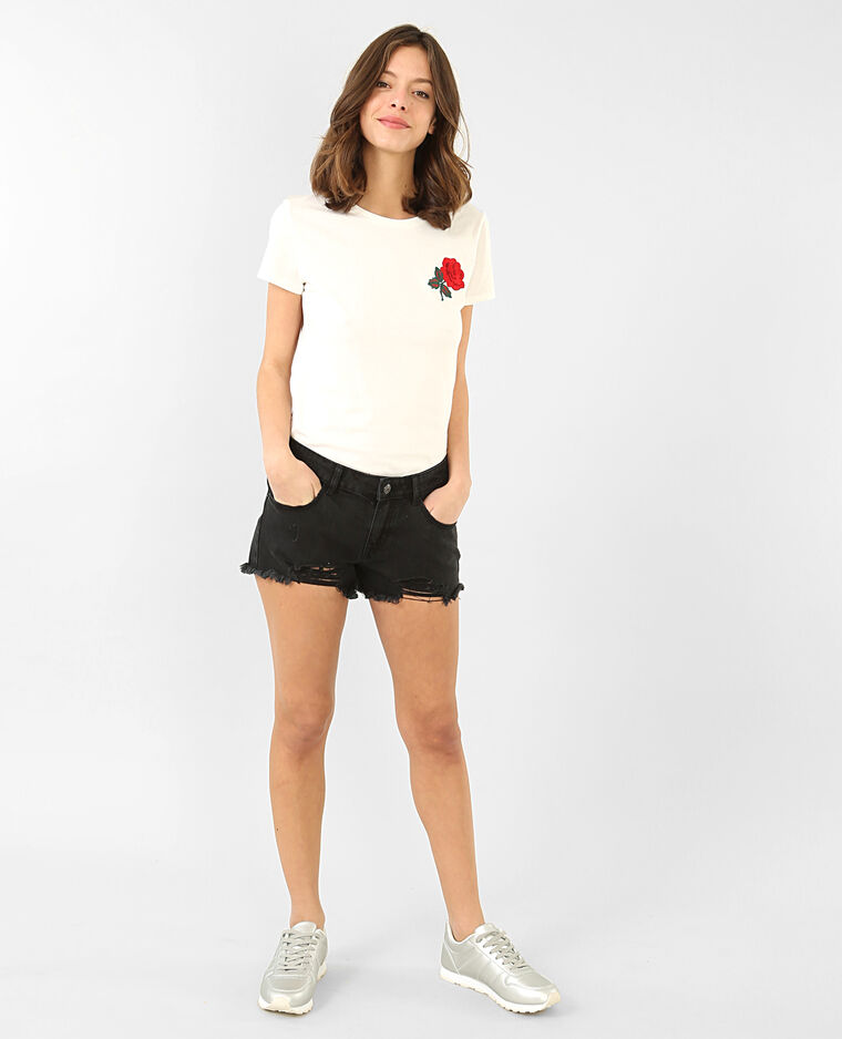 T-shirt broderie rose blanc