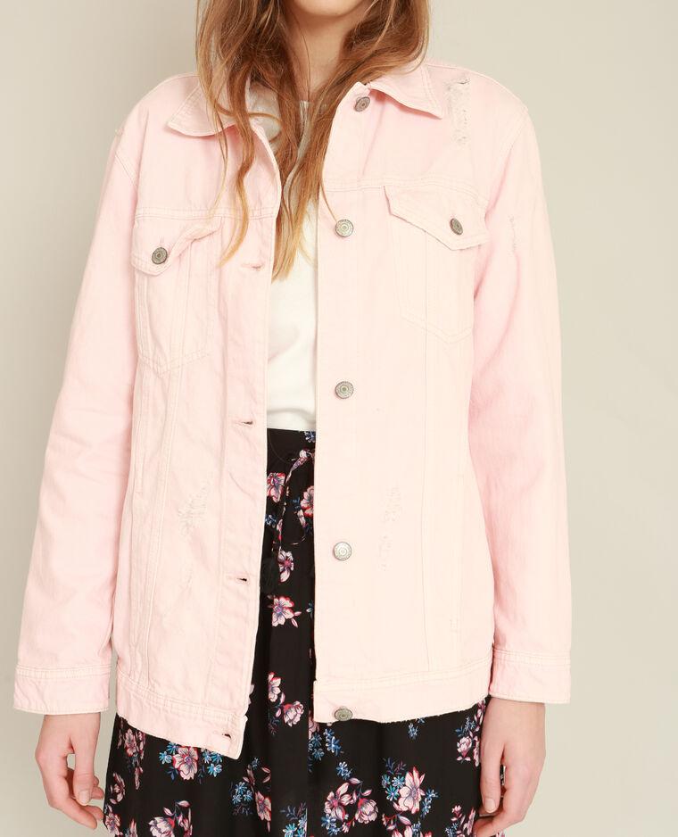 Veste en jean oversized rose poudré