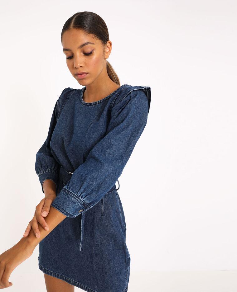 Robe en jean avec ceinture bleu denim