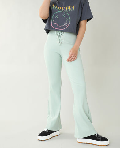 Pantalon flare côtelé vert - Pimkie