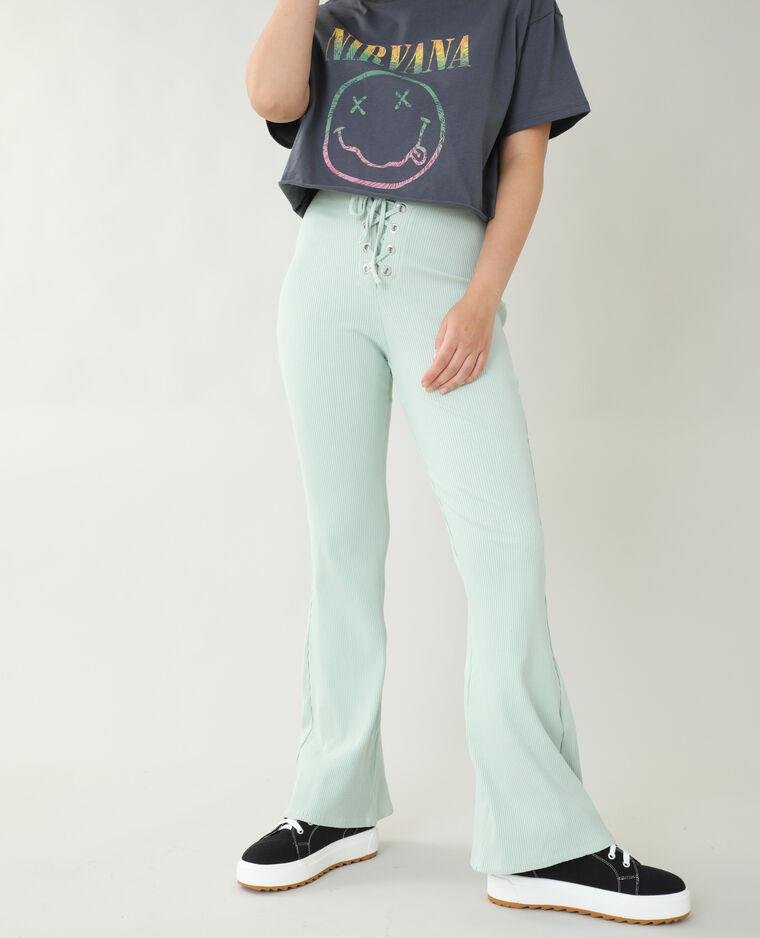 Pantalon flare côtelé vert