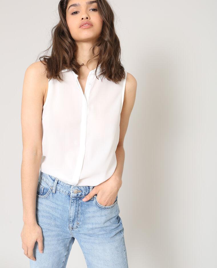 Chemise sans manches blanc cassé