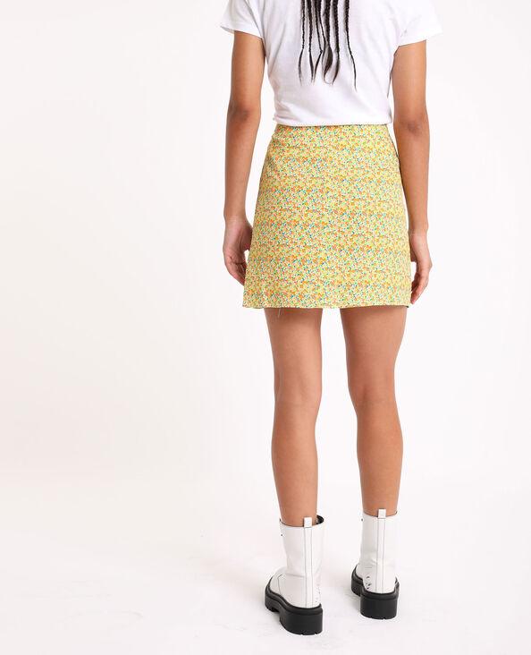 Jupe courte à fleurs jaune
