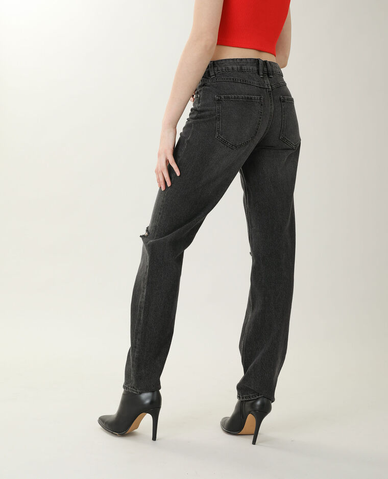 Jean straight high waist noir