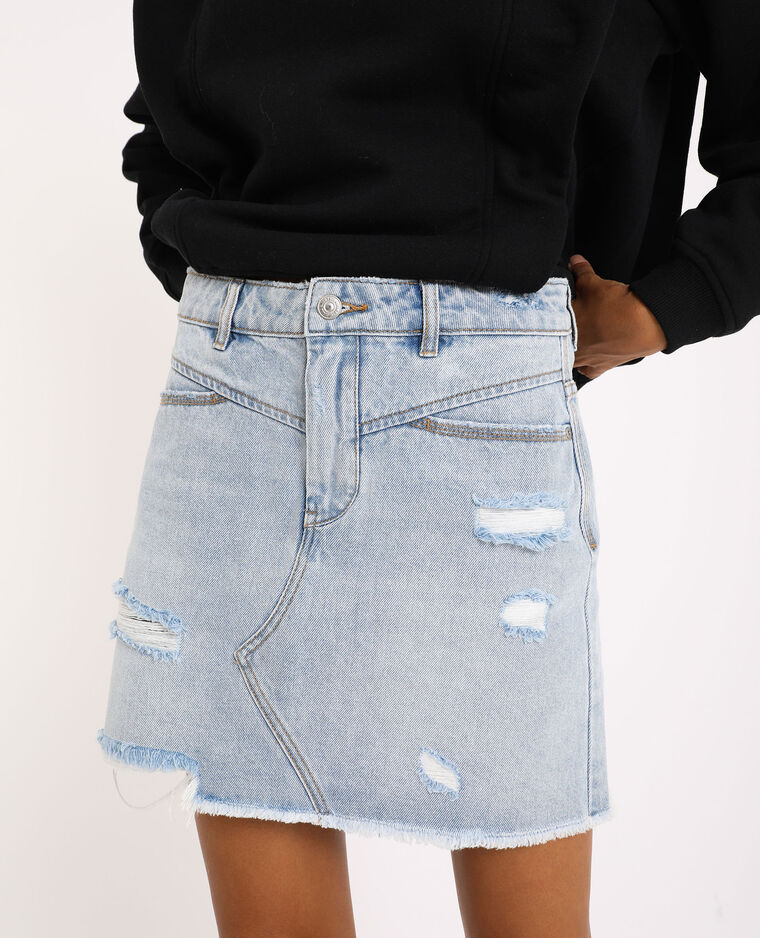 Jupe en jean destroy bleu clair