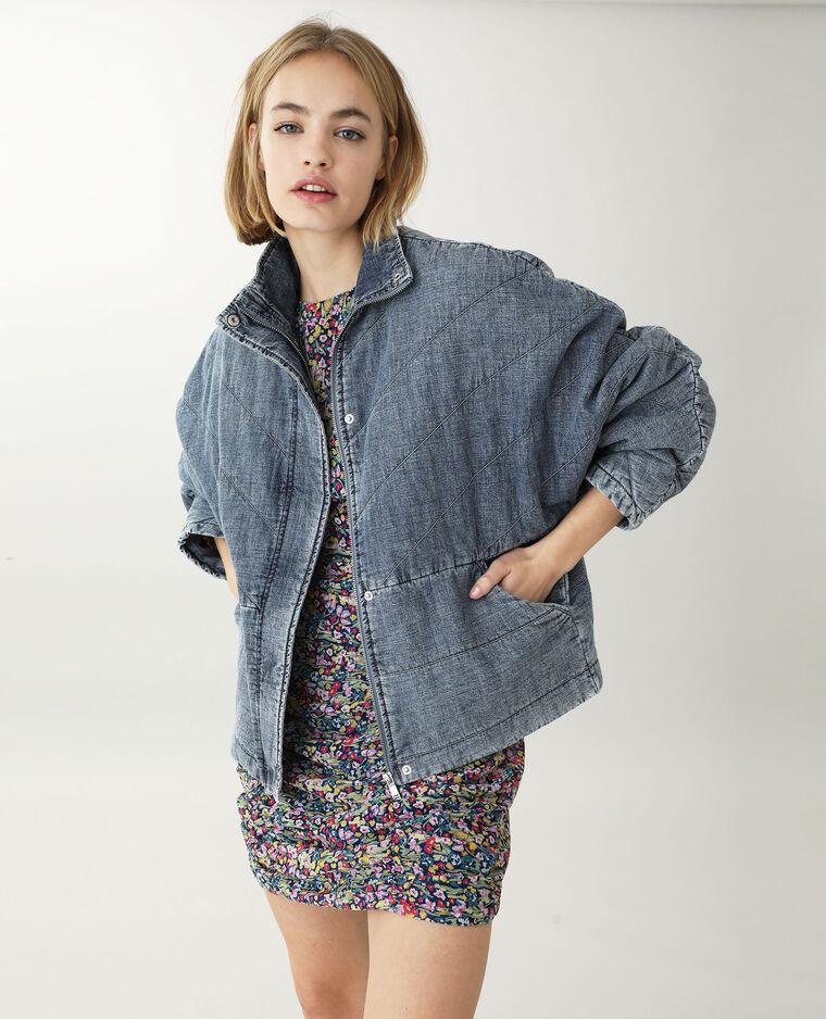 Veste en jean matelassée bleu foncé