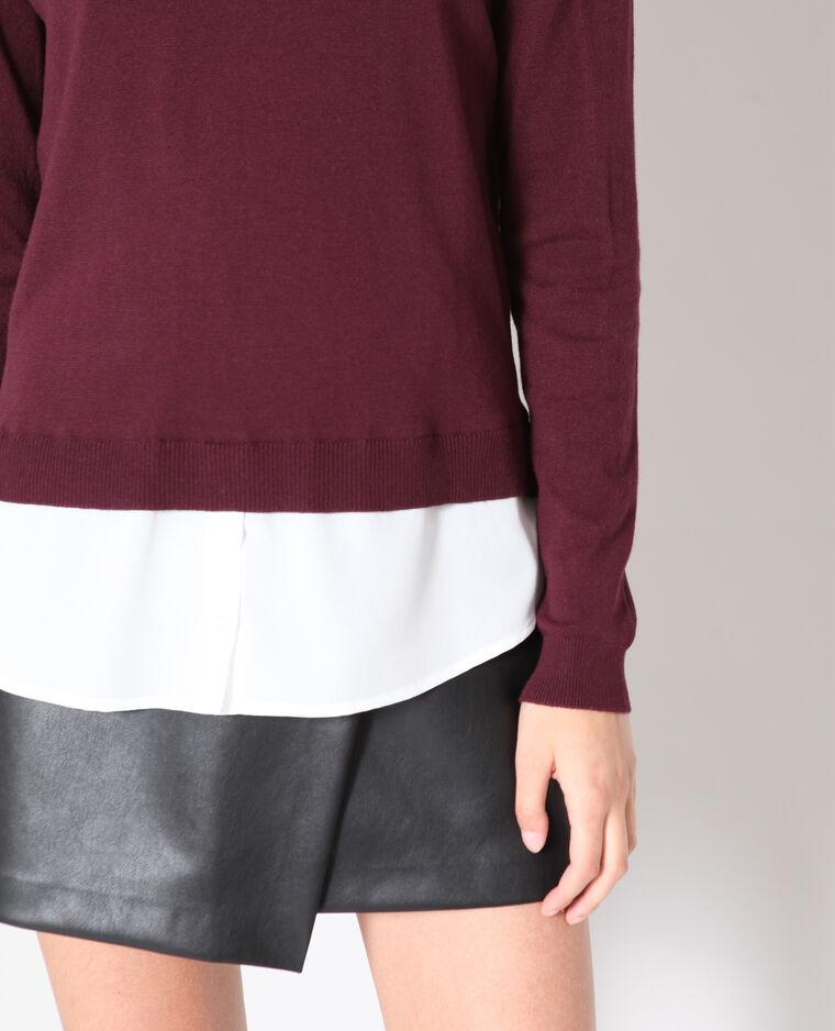 Pull chemise bordeaux