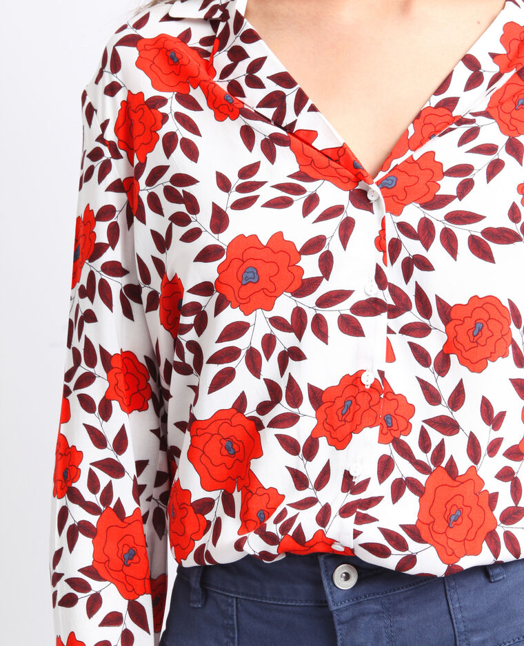 Chemise à fleurs blanc