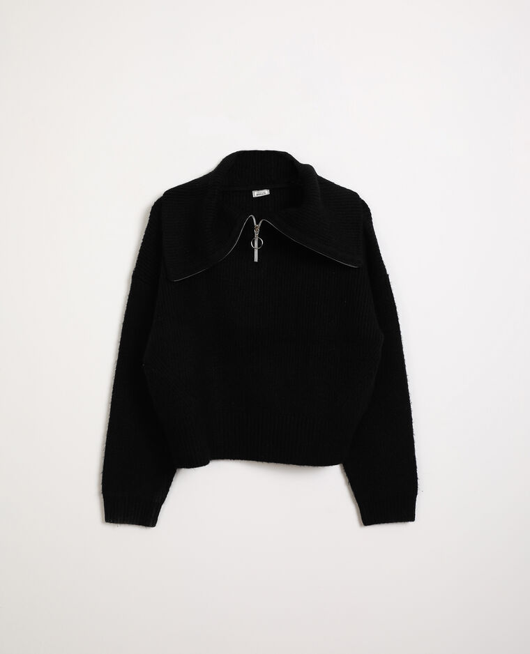 Pull col zippé noir