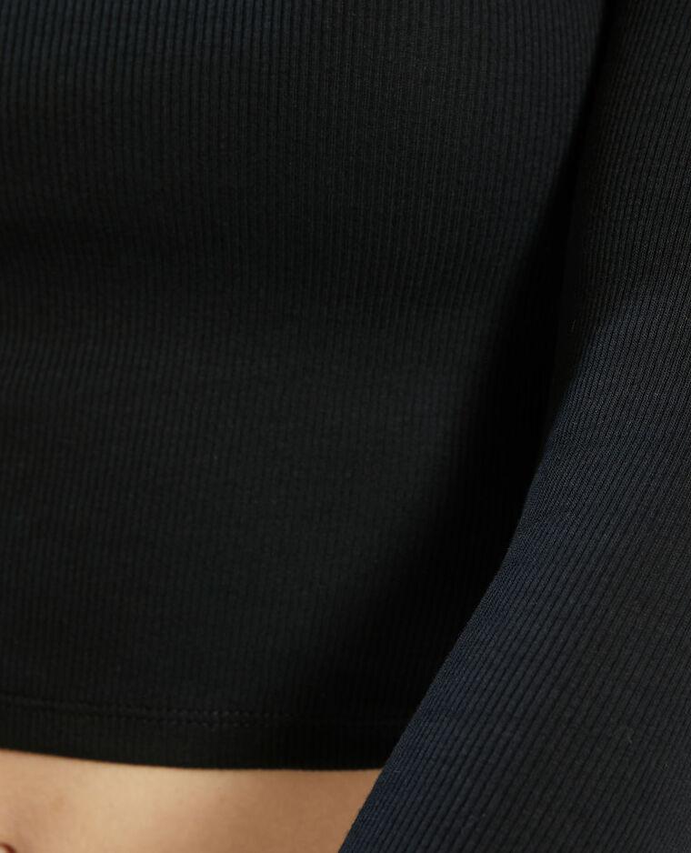 T-shirt cropped côtelé noir - Pimkie
