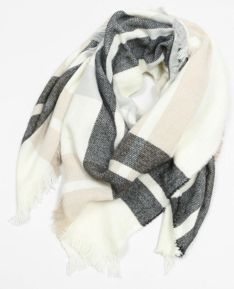 1836af256e1 Echarpe plaid à carreaux blanc - 902126901B38