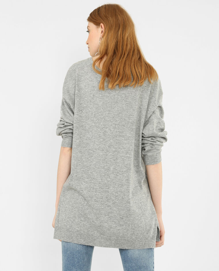 Pull long gris perle