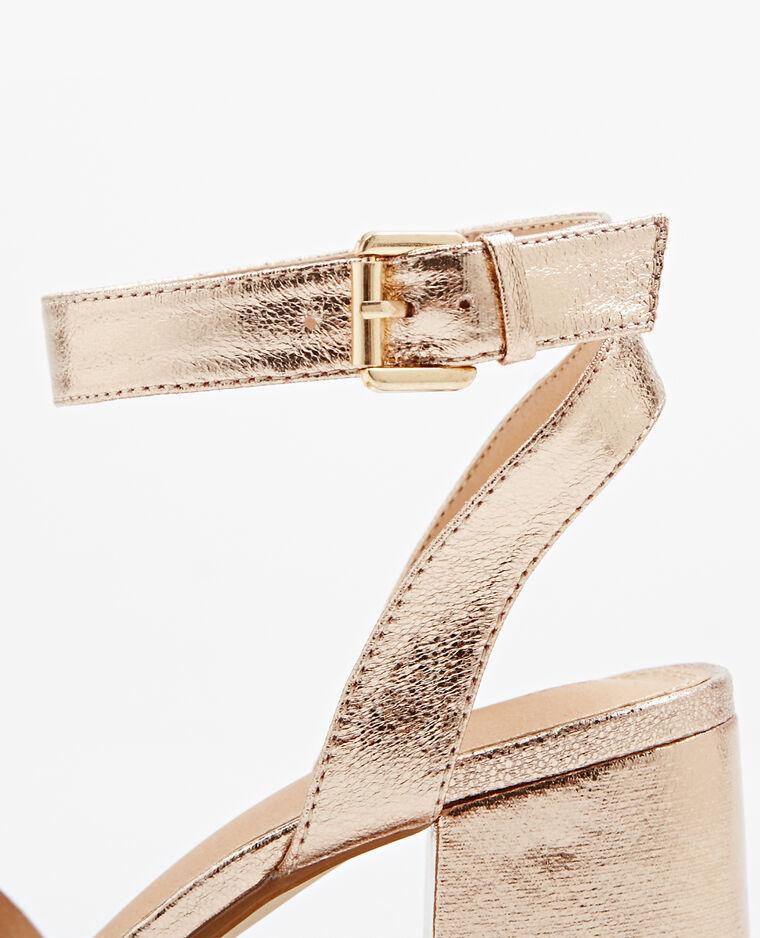 Sandales à talons carrés cuivré