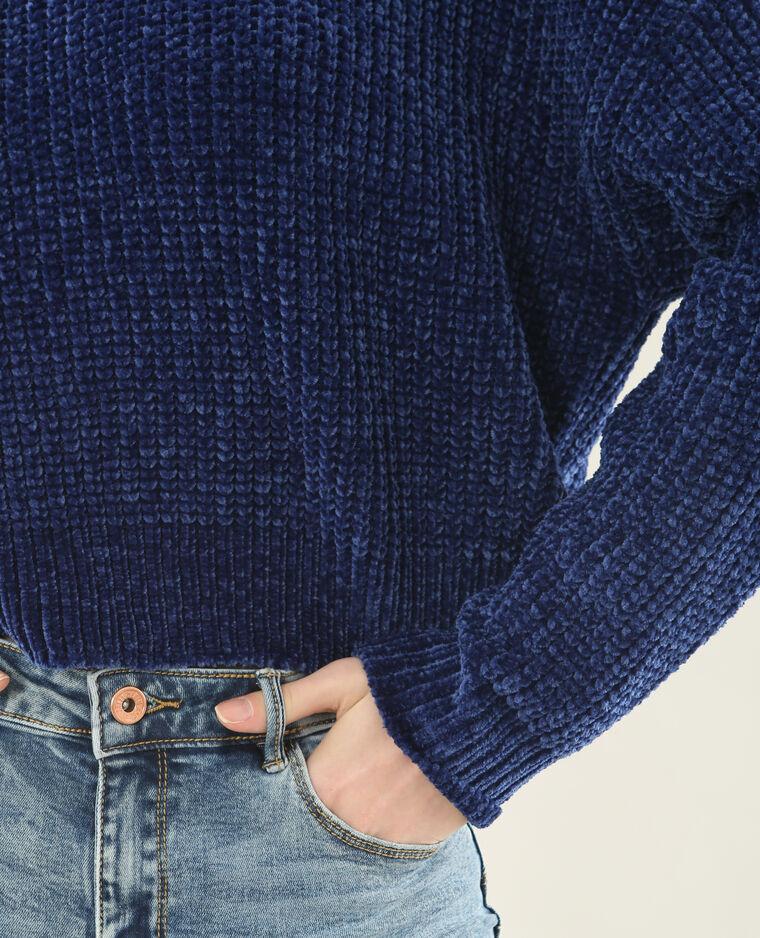 Pull en maille chenille bleu foncé