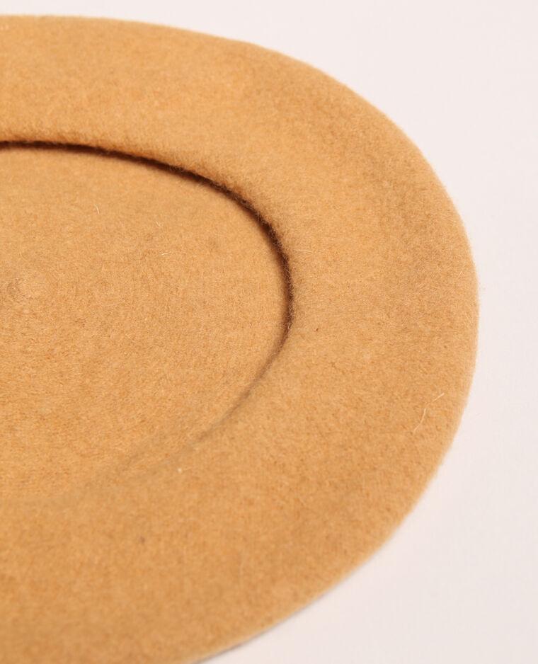 Beret en laine beige sable