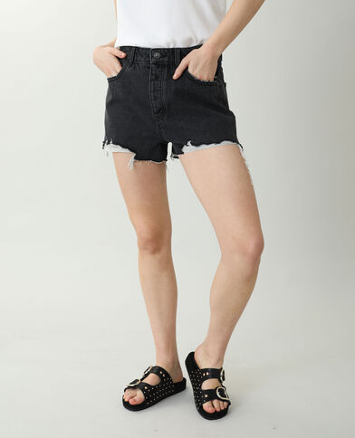 Short en jean high waist destroy noir - Pimkie