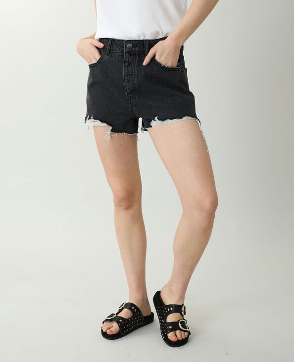 Short en jean high waist destroy noir