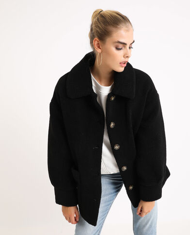 Veste droite imitation mouton noir