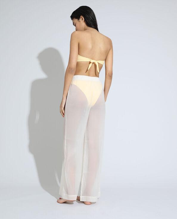 Pantalon wide leg de plage high waist transparent blanc - Pimkie