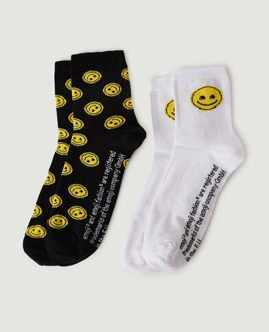 Lot de 2 paires de chaussettes Smiley noir - Pimkie