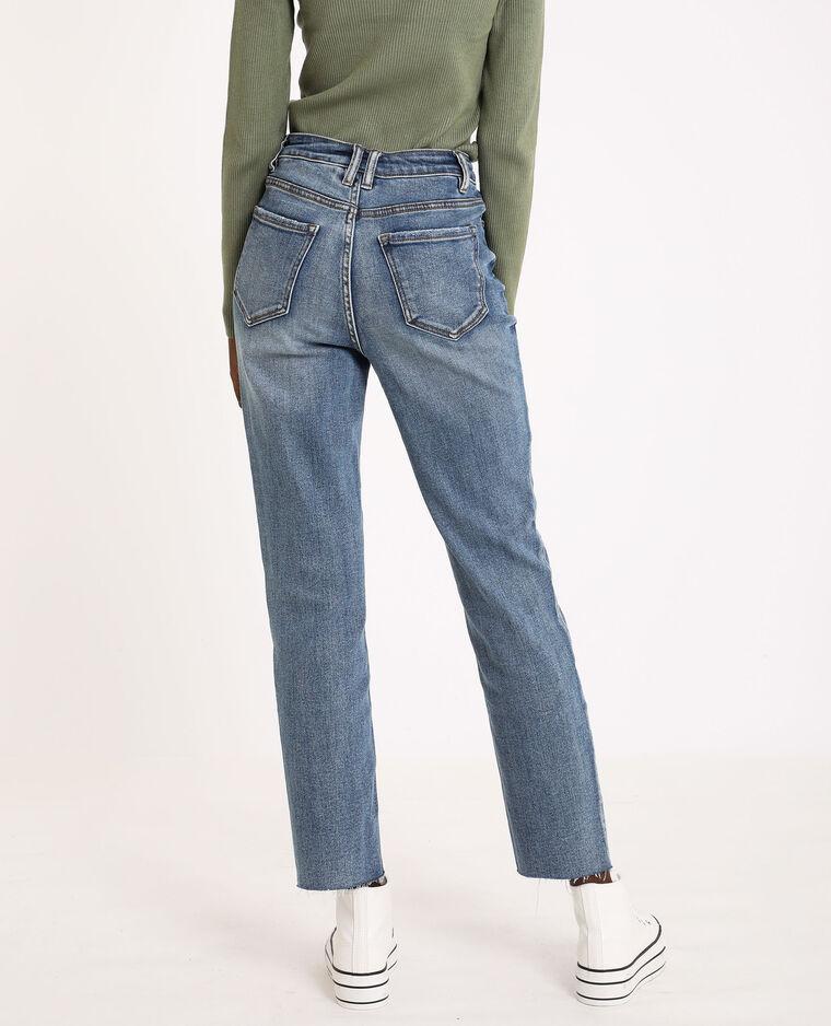 Jean straight high waist bleu denim