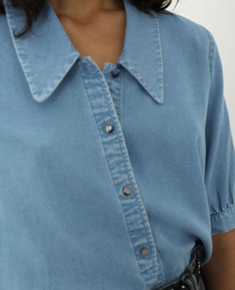 Chemise en jean bleu clair - Pimkie