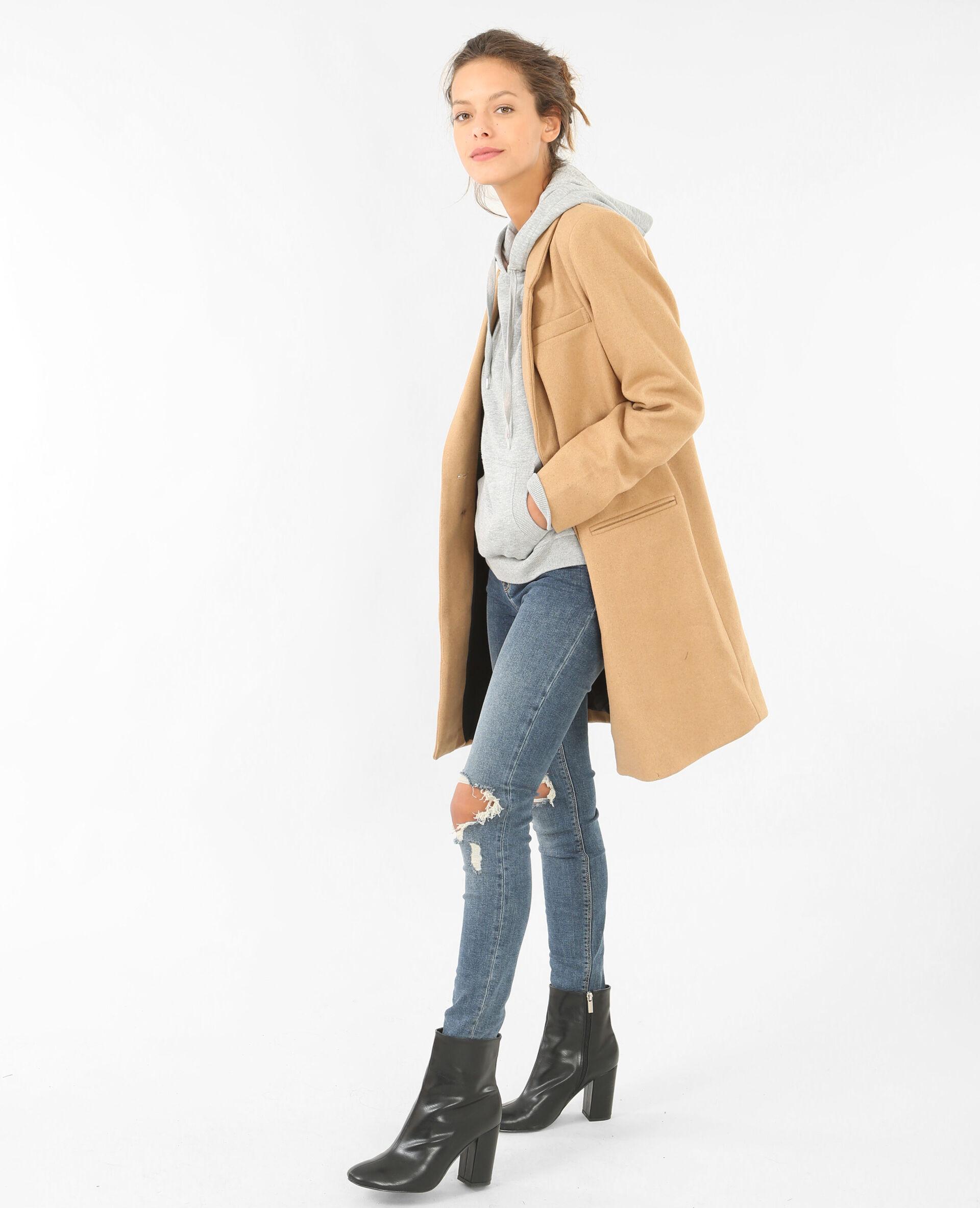 Manteau droit laine camel femme