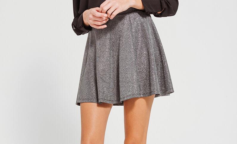Mini jupe patineuse noir