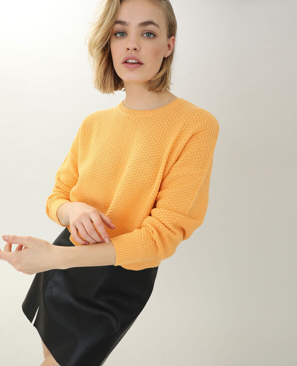 Pull maille reliefée orange