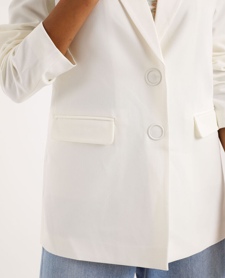 Veste blazer longue blanc cassé