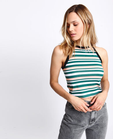 Cropped top à rayures vert