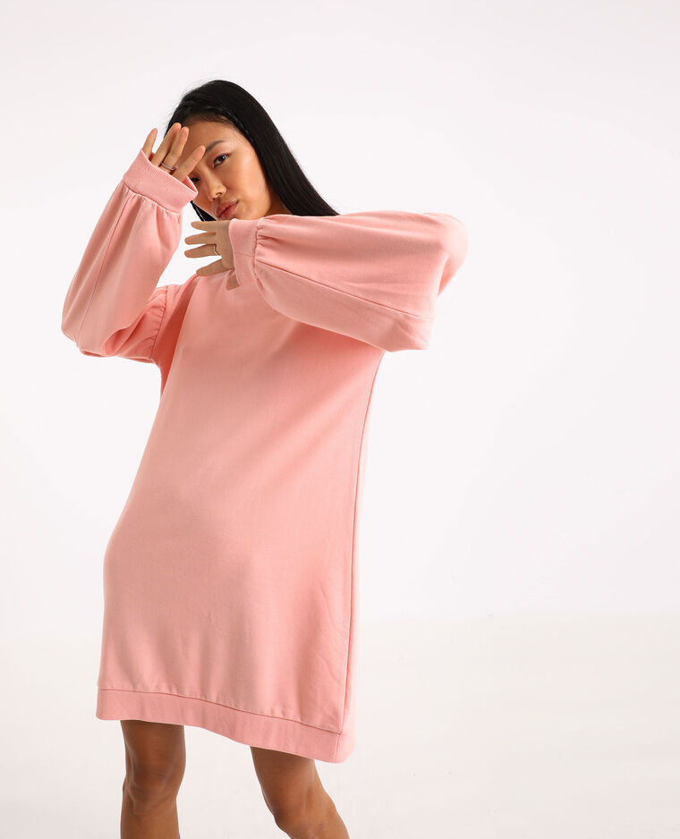 Robe sweat manches ballon rose